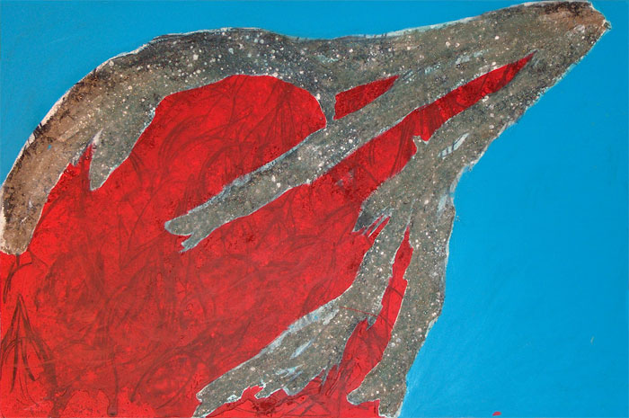 Naidos's bird, mixed media on large canvas, 2005, figurative abstract, expressive painting, textured, bright colours, red bird